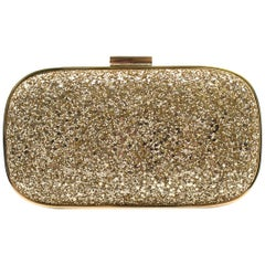 Anya Hindmarch Marano Gold Glitter Clutch One size