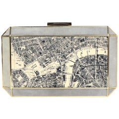 Anya Hindmarch Metal/Suede Beige/Black London Map Clutch