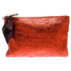 Anya Hindmarch Metallic Orange Bits & Bobs Zip Pouch