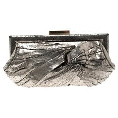 Anya Hindmarch Metallic Silver Crackled Leather Frame Clutch