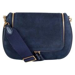 ANYA HINDMARCH navy blue suede VERE SOFT Satchel Shoulder Bag