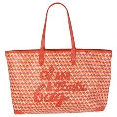 ANYA HINDMARCH orange cotton I'M NOT A PLASTIC BAG Tote Bag