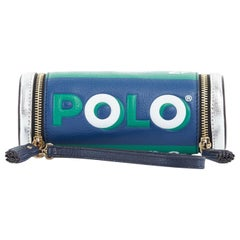 ANYA HINDMARCH Polo blue green silver leather dual zip wristlet clutch bag