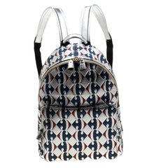 Anya Hindmarch Silver Capra Printed Leather Carrefour Backpack