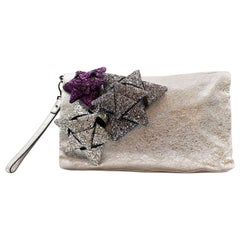 Anya Hindmarch Silver Crinkled Leather Scrooge Day Clutch