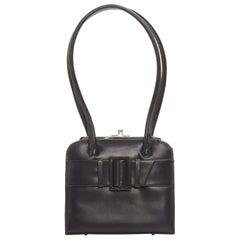 ANYA HINDMARCH Vintage dark brown buckle strap front long handle structured bag