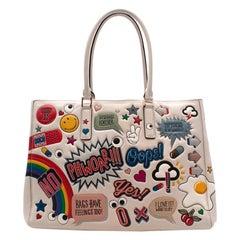Anya Hindmarch White Leather Ebury Stickers Bag