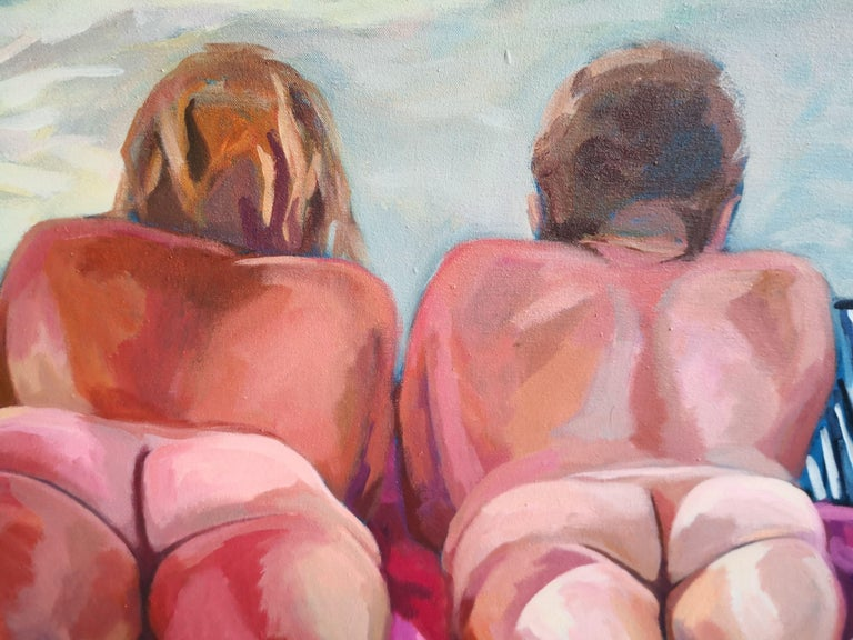 Day at The Beach, Painting, Acrylic on Canvas For Sale 1