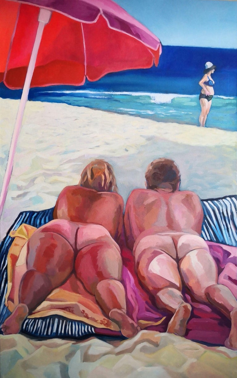 Acrylic on unmounted canvas. Belongs to a series of works on scenes at the beach. Always liked to study gestures and attitudes of people at the beach. :: Painting :: Expressionism :: This piece comes with an official certificate of authenticity