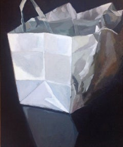 Plain White Paper Bag on Shinny Black Table, Painting, Acrylic on Canvas