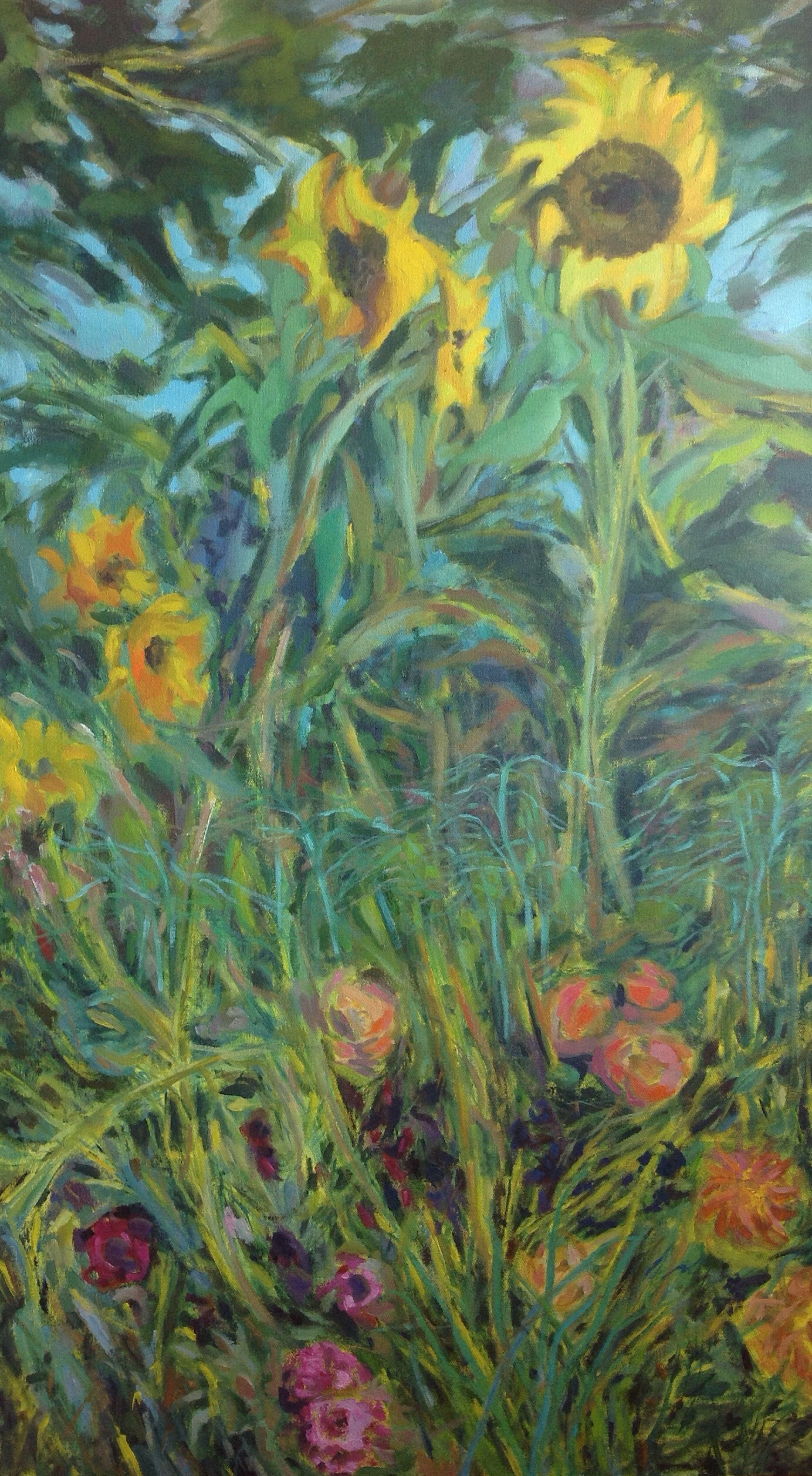 Sunflowers in the wind, Painting, Acrylic on Canvas
