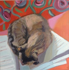 The cat that could read, Painting, Acrylic on Canvas