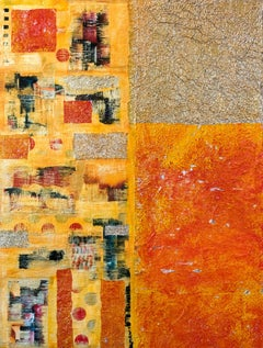 Abstract-Smart, Mixed Media on Wood Panel