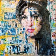 Amy Winehouse Talent & Tradegy, Mixed Media on Wood Panel