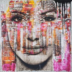 Angelina and the Driping pink Skyline, Mixed Media on Wood Panel