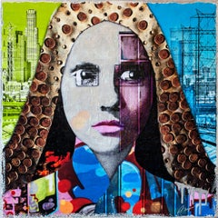 Downtown Girl, Mixed Media on Wood Panel