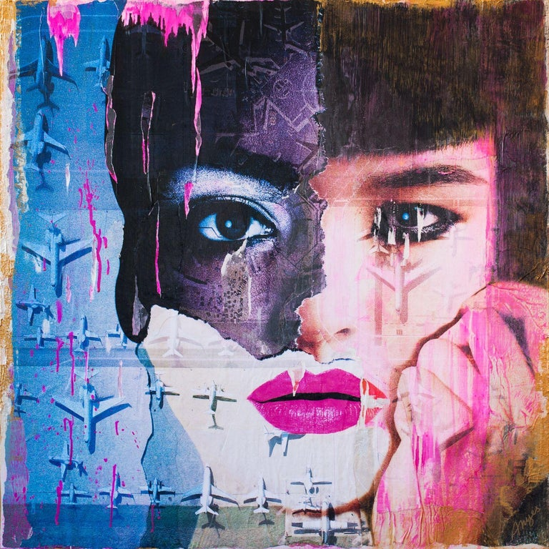 Interracial Girl, Mixed Media on Wood Panel - Mixed Media Art by Anyes Galleani