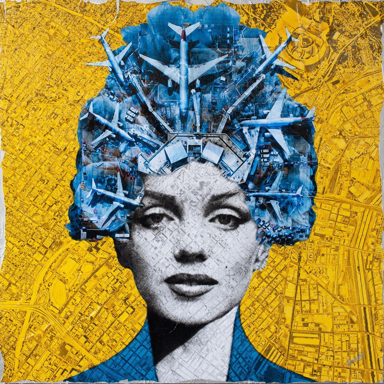 Marilyn the Goddess, Mixed Media on Wood Panel