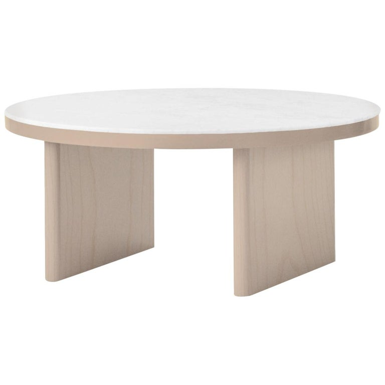 For Sale: Brown (Natural Oak) Anza White Carrara Marble Coffee Table