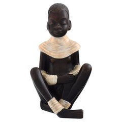 Anzengruber, Austria, African Girl in Glazed Ceramics, 1940s