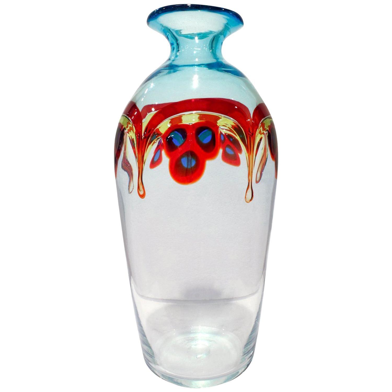 "Anzolo Fuga Hand Blown Glass ""Pavone"" Vase, 1950s"