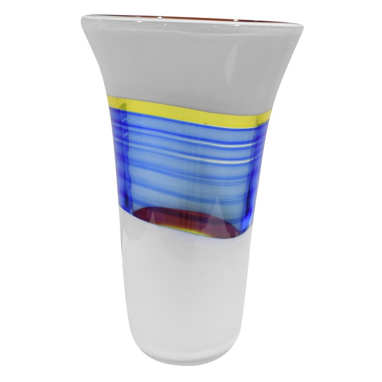 "Rare and important hand blown glass ""Bandiere Vase"" model 13471 by Anzolo Fuga for Arte Vetraria Muranese (A.V.E.M.), Murano, Italy, 1955-1956. Etched on bottom ""COL Luciano Ferro 1952"". Luciano Ferro was Fuga's primary glass blower who executed"