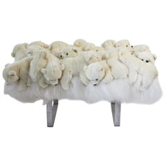 Contemporary AP Collection Ivory Polar Bear Bench with Chrome Feet