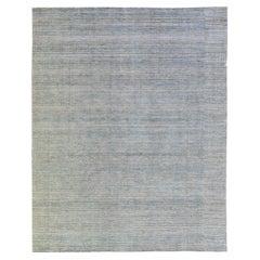 Modern Apadana's Groove Bamboo/Silk Handmade Blue And Gray Rug