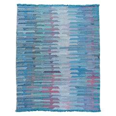 Apadana Modern Kilim Blue Handmade Geometric Wool Rug