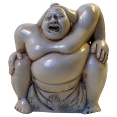Japanese Sumo Wrestler Figurine in Carved Bone, 1900s
