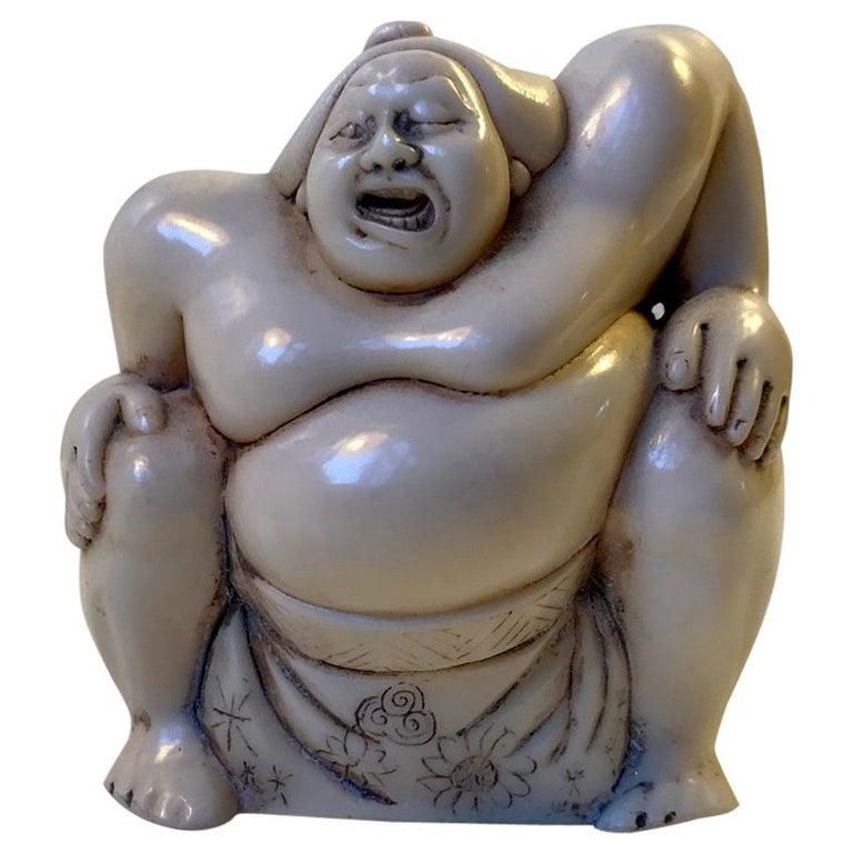 Japanese Sumo Wrestler Figurine in Carved Bone, 1900s For Sale