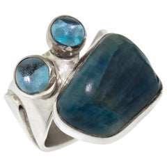 Apatite and Blue Topaz Sterling Silver Ring, Handmade in USA by Lilly Barrack