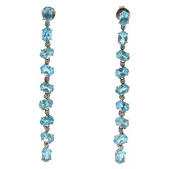 Apatite and Diamond Shoulder-Duster Oxidized Silver and Gold Drop Earrings