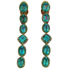 Apatite Paraiba Cocktail Long Earrings with 18 Karat Gold and Green Garnet