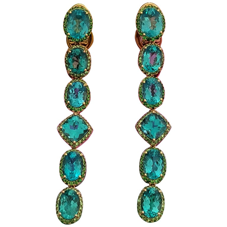 Apatite Paraiba Cocktail Long Earrings with 18 Karat Gold and Green Garnet For Sale