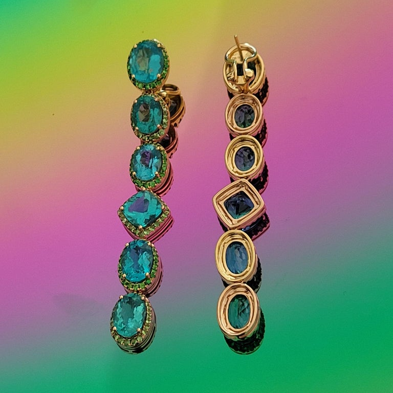 Modern Apatite Paraiba Cocktail Long Earrings with 18 Karat Gold and Green Garnet For Sale