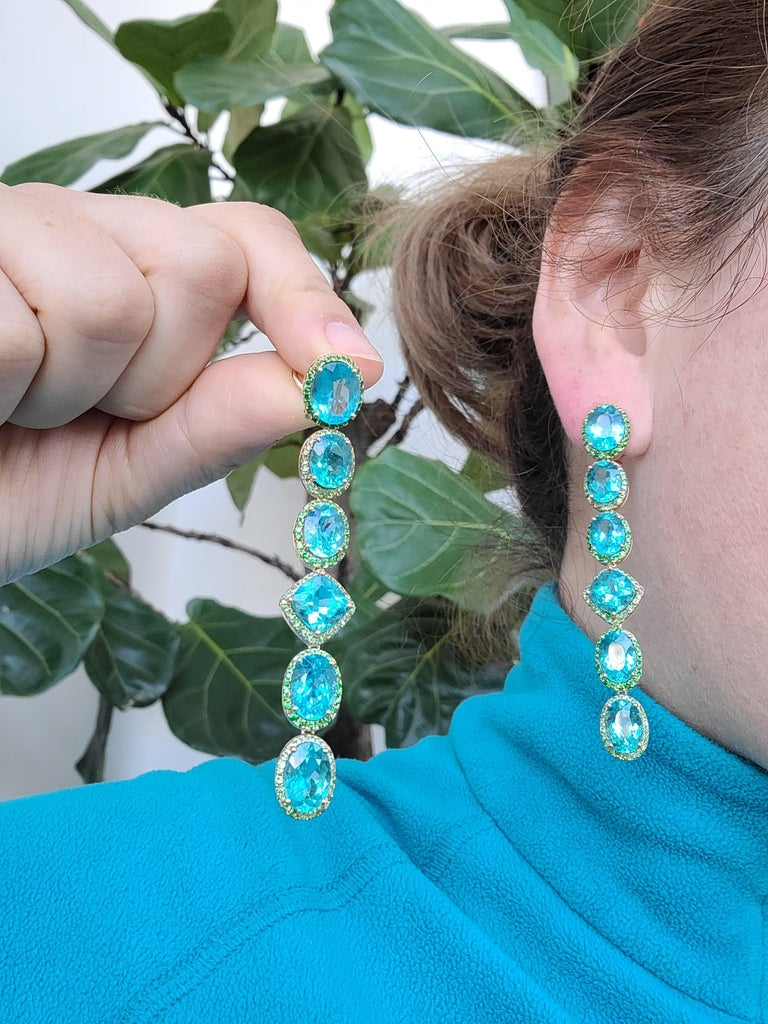 Oval Cut Apatite Paraiba Cocktail Long Earrings with 18 Karat Gold and Green Garnet For Sale