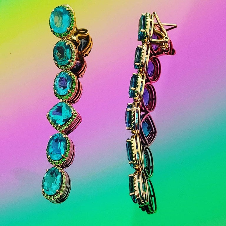 Women's Apatite Paraiba Cocktail Long Earrings with 18 Karat Gold and Green Garnet For Sale