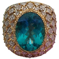Apatite Cocktail Ring in 18 Karat Gold and Diamonds in Special Lace Setting
