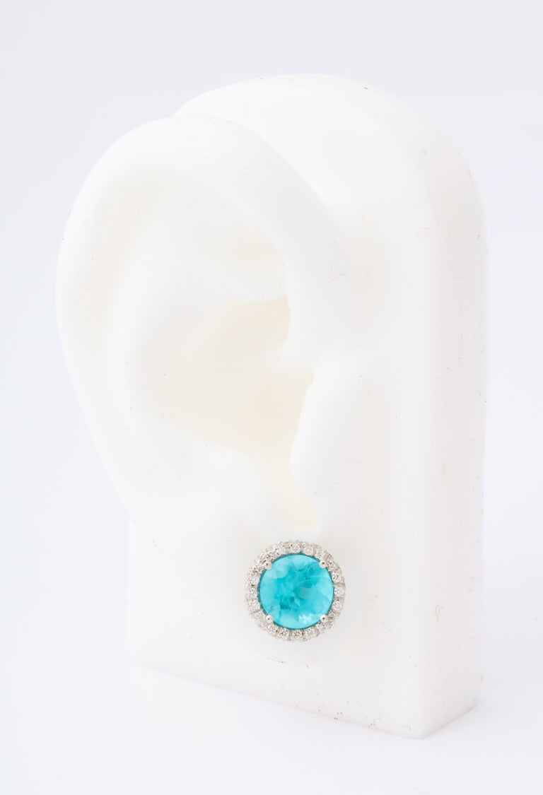 Apatite Diamond White Gold Earrings In New Condition For Sale In Bal Harbour, FL