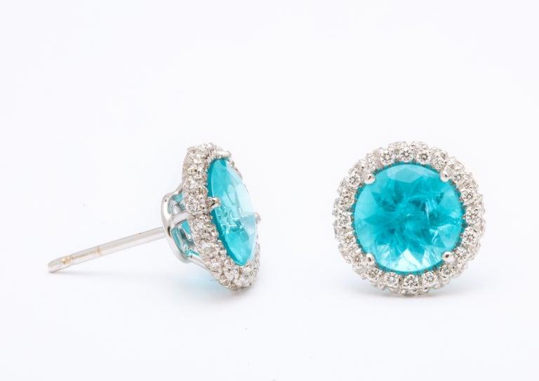 Women's Apatite Diamond White Gold Earrings For Sale