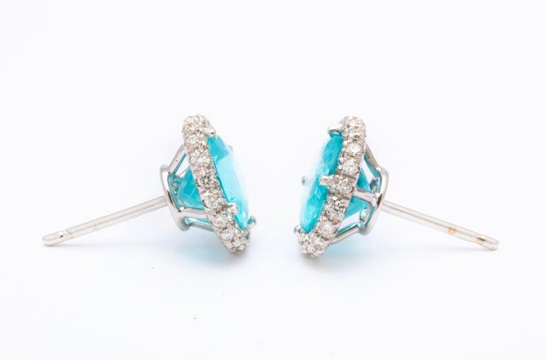 Apatite Diamond White Gold Earrings For Sale 1