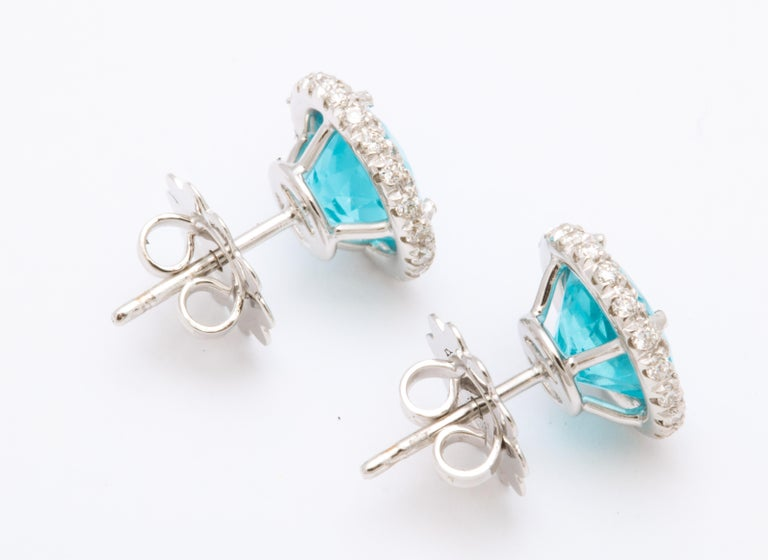 Apatite Diamond White Gold Earrings For Sale 2