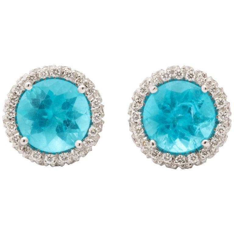 Apatite Diamond White Gold Earrings For Sale