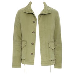 APC green cotton shearling lined convertible hood military zip parka jacket XS