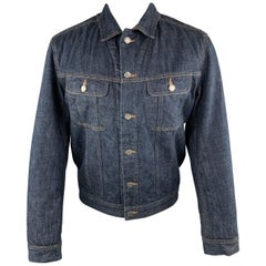 A.P.C. M Indigo Blue Fuzzy Lined Denim Trucker Jacket