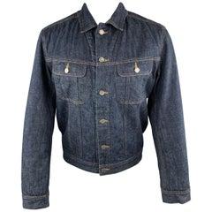 A.P.C. M Indigo Blue Fuzzy Lined Denim Trucker Jacket