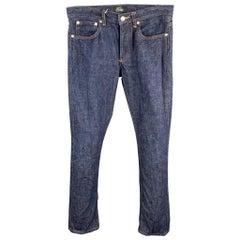 A.P.C. Size 28 Indigo Contrast Stitch Denim Button Fly Jeans