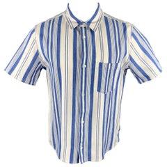 A.P.C. Size XL Blue & White Stripe Button Up Short Sleeve Shirt