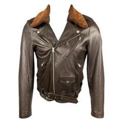 A.P.C Size XS Brown Leather Detachable Collar Biker Jacket